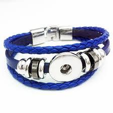 blue leather bracelet images Blue leather 1 snap bracelet sassy snap jewelry jpg