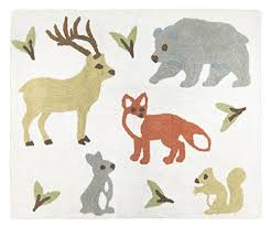 deer bear fox rabbit and squirrel accent floor rug bedroom
