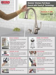 Touch Kitchen Faucets Reviews by Delta Dominic Single Handle Pull Down Sprayer Kitchen Faucet With