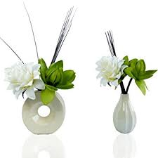 Flowers In Vases Images Two Lotus Lime Green Silk Artificial Flower Arrangements In Vases