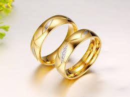 gold wedding rings designs high quality 316l stainless steel zirconia rings women men