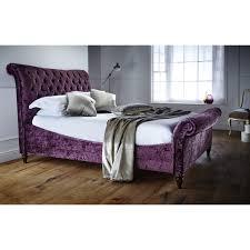 kingsbury super king size velvet sleigh bed frame