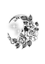 flower crescent moon skull wrist design black white