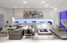 luxurious modern living room idea with white wall and ceiling idea