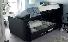 kaydian barnard black leather ottoman storage tv bed king size