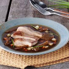 recette de cuisine filet de faisan consommé au filet de faisan et aux cèpes colruyt