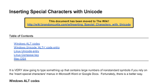 Unicode Character Table Bc Special Characters And Unicode Google Docs