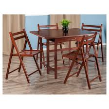 Drop Leaf Table With Chairs Taylor 5 Piece Set Drop Leaf Table With Folding Chairs Walnut