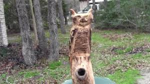 chain saw carving wooden owl