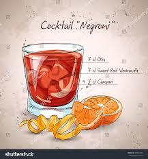 campari orange negroni alcoholic cocktail consisting gin campari stock vector