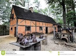 historical jamestown virginia building and artifacts stock photo