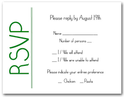 green on white rsvp cards reply cards response cards