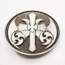 vintage celtic iron cross oval belt buckle