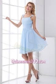 light blue dress simple empire straps knee length chiffon light blue dresses for