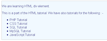 html div tag html div tag and element html tutorials w3resource