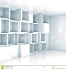 abstract empty 3d interior white empty cube shelves on wall stock
