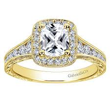 engagement rings cushion cut clementine 14k yellow gold cushion cut halo engagement ring