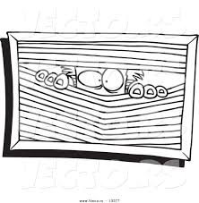 vector of a cartoon paranoid man peeking through blinds coloring