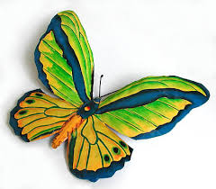 tropical green butterfly wall hanging painted metal 12 x 16