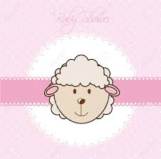 sheep baby shower pink baby shower card with sheep vector illustration royalty
