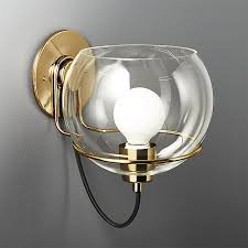 Glass Wall Sconce Rest Large Clear Glass Wall Sconce In Wall Sconces Reviews Cb2
