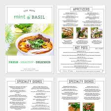 mint u0026 basil vegetarian restaurant menu design menu contest