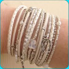 wrap bracelet with charms images Multi strand leather triple wrap bracelet adjustable white jpg