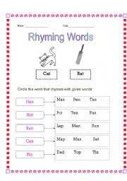 printable rhyming words teaching worksheets rhyming words