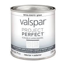 shop valspar project perfect white gloss latex enamel interior