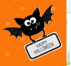 cute bat with plate happy halloween card flat design stock