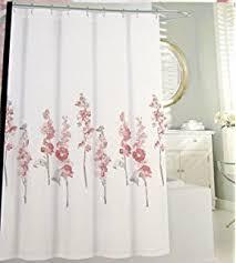 Pink Flower Shower Curtain Amazon Com Tahari Home Fabric Floral Hollyhock Shower Curtain
