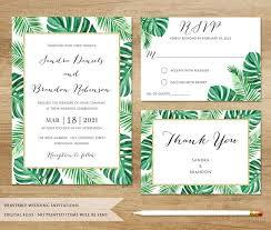 tropical wedding invitations tropical wedding invitation tropical leaves wedding