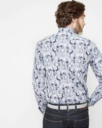 ted baker monkey print cotton shirt in blue for men lyst