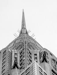art deco elements statues spire chrysler building manhattan nyc