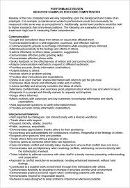 performance review comments sample employee performance evaluation template 7 free in