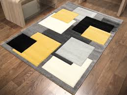 Modern Rugs by Square Rug Black Grey Yellow