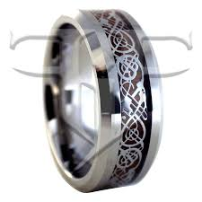 titanium tungsten rings images Silver nordic viking celtic dragon tungsten ring wood wedding band jpg