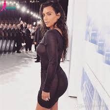 2017 gagaopt kim kardashian party dresses deep v neck black