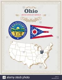 Map Of Ohio by High Detailed Vector Set With Flag Coat Of Arms Map Of Ohio