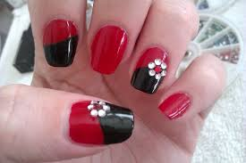 water marble nail art tutorial enchanted forest red flower how to