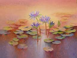 Purple Lillies Purple Lilies By Artist Swati Kale Oil Paintings