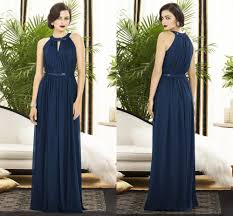 charming a line wedding party gowns long chiffon navy blue