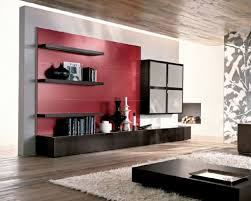 red accent tone and black floating shelves for modern living room