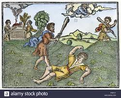 cain and abel ncain kills abel woodcut from u0027supplementum stock