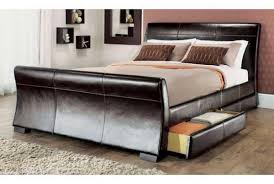 Double Faux Leather Bed Frame by Venetian Storage King Bed Black