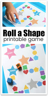 roll a shape printable game for preschool shape games youngest