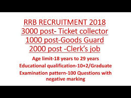 exam pattern of goods guard rrb recruitment 2018 ticket collector tc guard clerk 6000