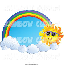 vector clip of a sun with clouds and a rainbow arch framing