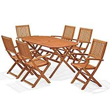 Patio Table 6 Chairs Wooden Garden Furniture Set 6 Seat Folding Patio Table U0026 Chairs