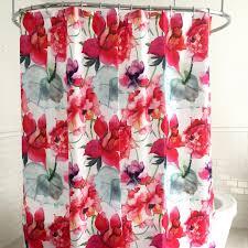 Pink Flower Shower Curtain Splash Polyester U0027touch Of Rose U0027 Shower Curtain Pink Kitchen